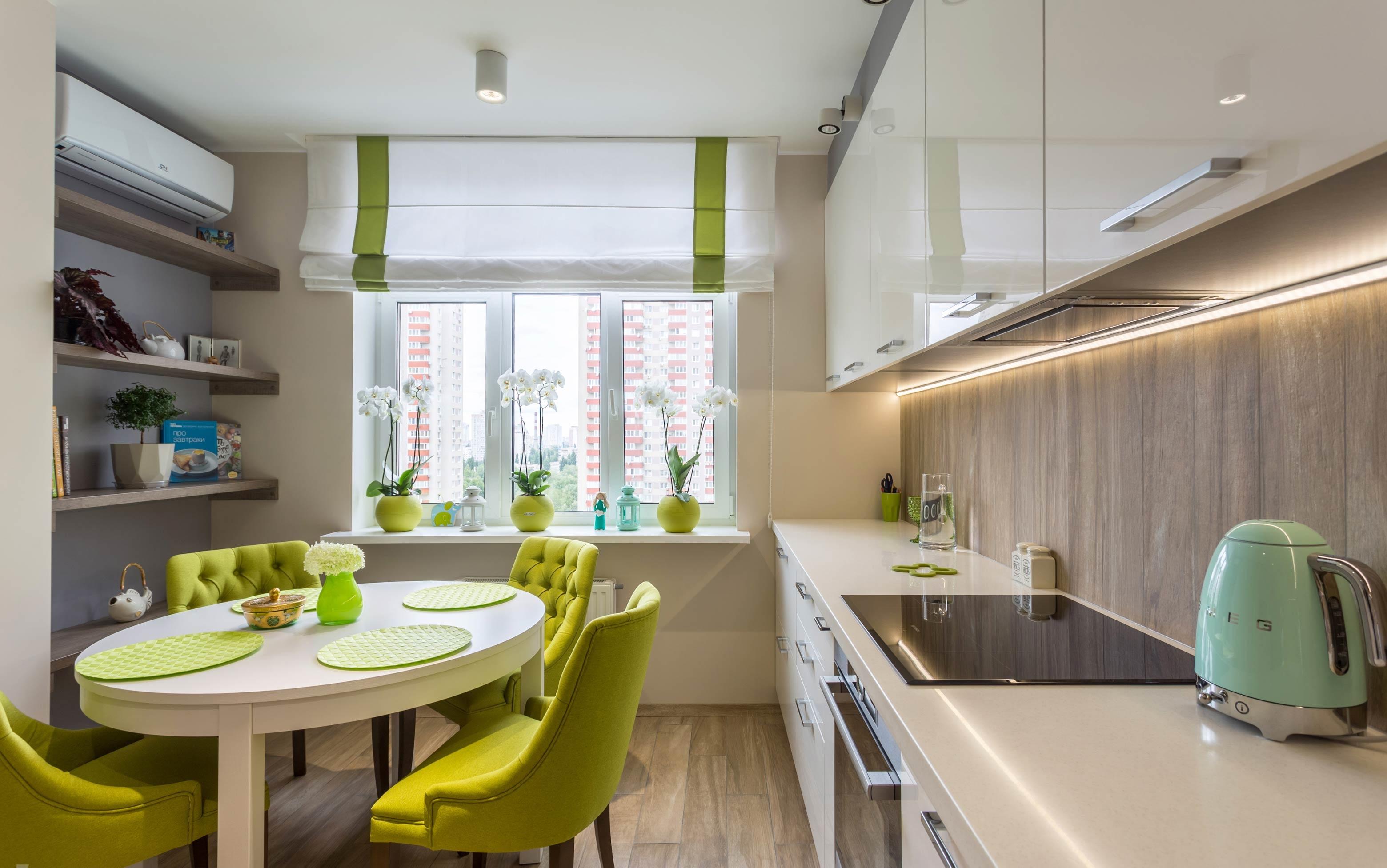 кухня-белая-салатовая-глянец-2
