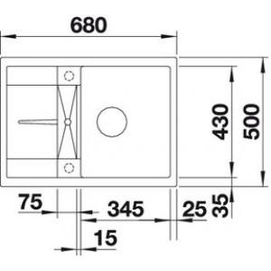 Размеры 68х50 см, размеры чаши 34.5x43 см, глубина мойки 19 см
