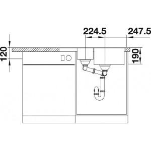 Размеры78x50 см, размеры чаши33x43; 17x26.5 см, глубина мойки19/12 см