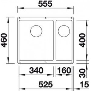 Размеры 55.5x46 см, размер чаши 34x40, 16x40, глубина мойки 19/13 см
