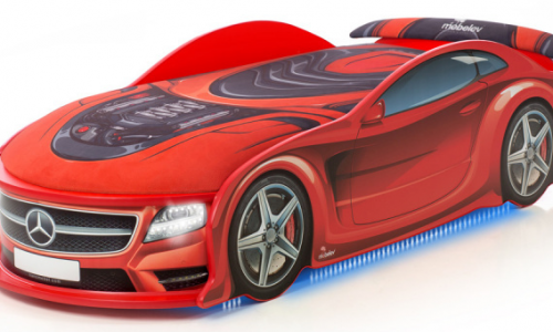 кровать машина мерседес красный