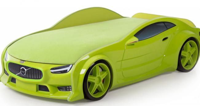 Кровать-машина объемная (3d) NEO Вольво зеленый