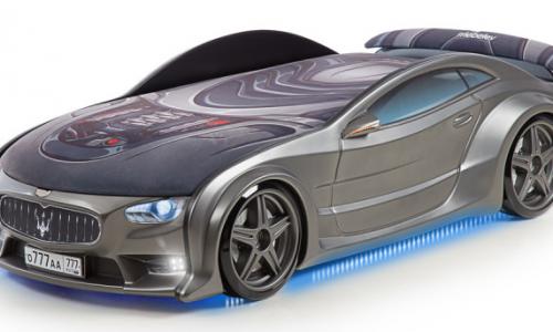 Кровать-машина объемная (3d) NEO Мазерати графит