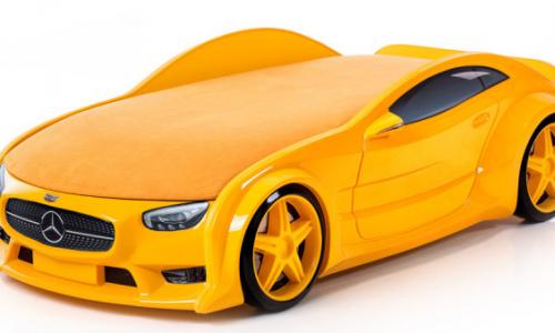 Кровать-машина объемная (3d) NEO Мерседес желтый