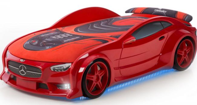 Кровать-машина объемная (3d) NEO Мерседес красный
