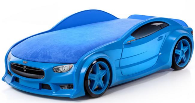 Кровать-машина объемная (3d) NEO Тесла синий