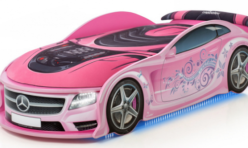 кровать машинка розовый мерседес с подсветкой
